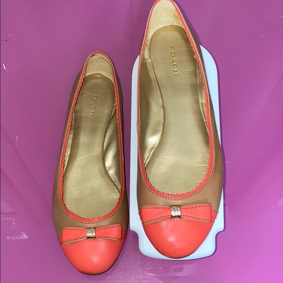 Coach Dorie Ballet Leather Flats! Tan/Coral 9.5